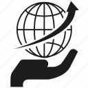arrow, global, globe, hand, hold, logistics icon