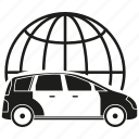 car, delivery, globe, send, transport