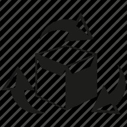 arrow, box, carton box, product, recycle, send icon