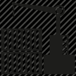 cargo, container, crane, dock, harbor, shipping icon