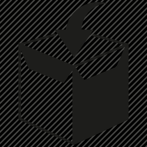 arrow, box, product icon