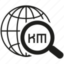 globe, kilometer, magnifier glass, search, world icon