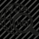globe, kilometer, magnifier glass, search, world