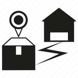 box, delivery, distance, house, pin, route icon