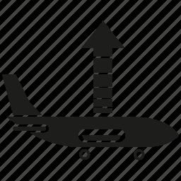 arrow, plane, take off, transport, travel icon