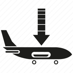 arrow, landing, plane, transport icon