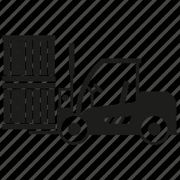 box, forklift, loading, warehouse icon