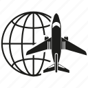 global, globe, plane, transport, travel icon