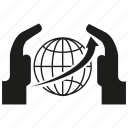 arrow, global, globe, hand, safe, world