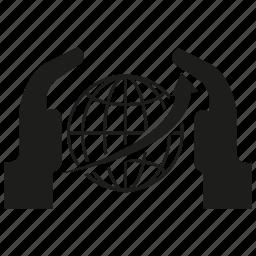 arrow, global, globe, hand, safe, world icon