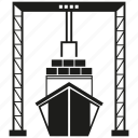 harbor, shipping, port, dock, vessel, ship, crane icon