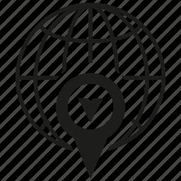 globe, gps, map pin, pin, world icon
