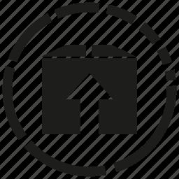 arrow, box, goods icon