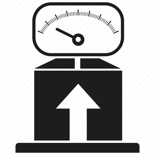 arrow, box, loading, scale, weight icon