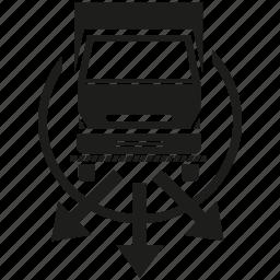 arrow, cargo, distribution, lorry, send, transport, truck icon