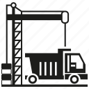 cargo, crane, loading, lorry, transport, truck icon