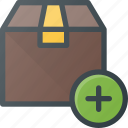 add, box, delivery, shipping icon