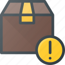 box, delivery, attention, shipping icon