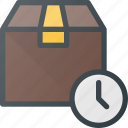 box, delivery, fast, shipping, time icon