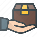 box, care, delivery, hand, hold, shipping icon
