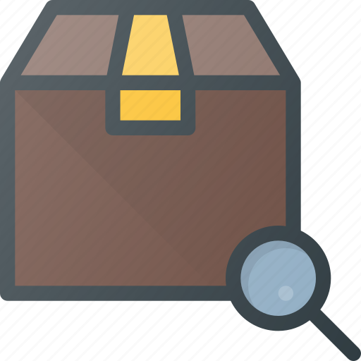 box, delivery, search, shipping icon