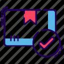 approved order, order confirmation, order verified, package confirmation, parcel confirmation icon