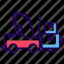bendi truck, fork truck, forklift truck, lift truck, loader truck, warehouse forklift icon