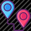destination, gps, location, map, pin, route icon