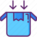 box, in, open, package, parcel icon