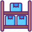 boxes, capacity, shelf, storage, warehouse icon