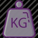 kg, kilogram, measure, weight icon