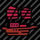 boat, junk, sailboat, ship, transportation icon