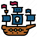 antique, frigate, pirate, ship icon