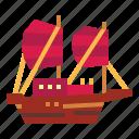 boat, junk, sailboat, ship, transportation