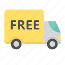 ecommerce, free delivery, shopping, truck package icon