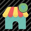 diamond, ecommerce, market, shopping, store icon