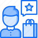 bag, man, purchase, review, shop, shopping, star icon