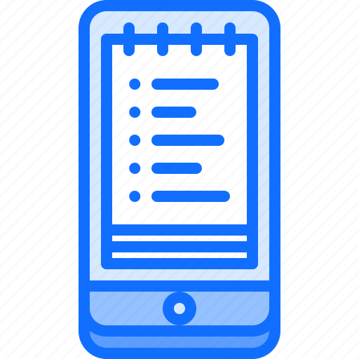 app, list, notebook, phone, shop, shopping, smartphone icon