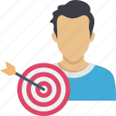 business focus, business target, dartboard goal, target person, target user icon