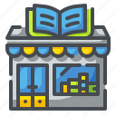 bookshop, bookstand, building, journal, shop, store, treatise icon
