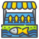 fishmongers, food, market, seafood, shop, shopping, store icon