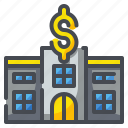building, commerce, dollar, exchange, money, pawn, shop icon