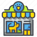 animal, building, cat, dog, pet, shop, store icon