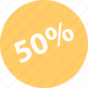 fifty, percent, sale, shop, shopping icon