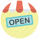 online shop, open, open shop, shop, shop open, shopping, store icon