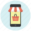 basket, cart, mobile, mobile shopping, shop, shopping, shopping basket icon