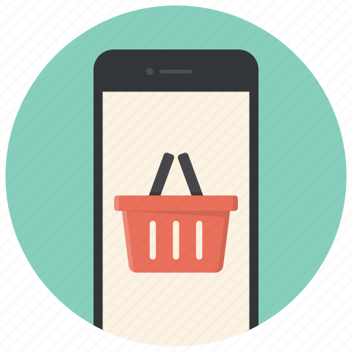 buy online, ecommerce, mobile, online shop, phone, shop, shopping basket icon