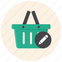basket, cart, edit basket, review basket, shop, shopping basket, store icon