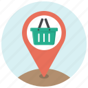 basket, location, marker, navigation, pin, shop, shopping icon