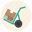 box, cargo, cargo cart, cart, deliver, package, warehouse icon